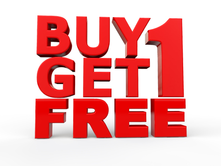 1: 3d buy 1 get 1 free red text Stock Photo