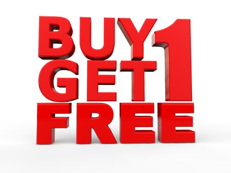 3d buy 1 get 1 free red text Foto de archivo