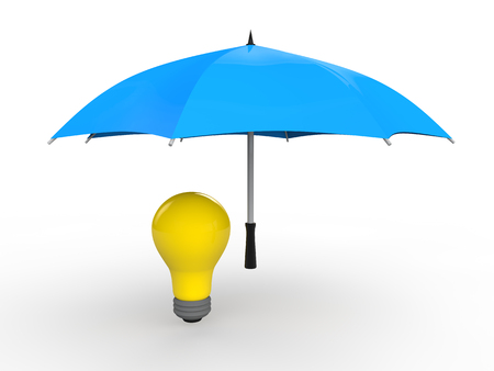 inventions: 3d umbrella protecting idea bulb Stock Photo
