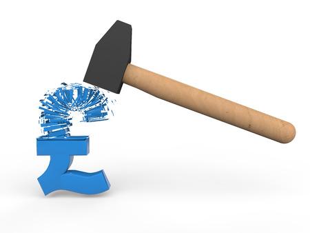 breaking: 3d hammer breaking pound symbol