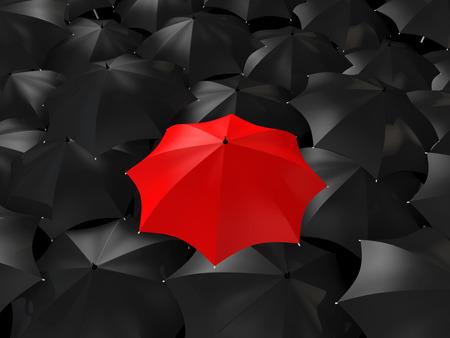 distinction: 3d red umbrella among black ones Stock Photo