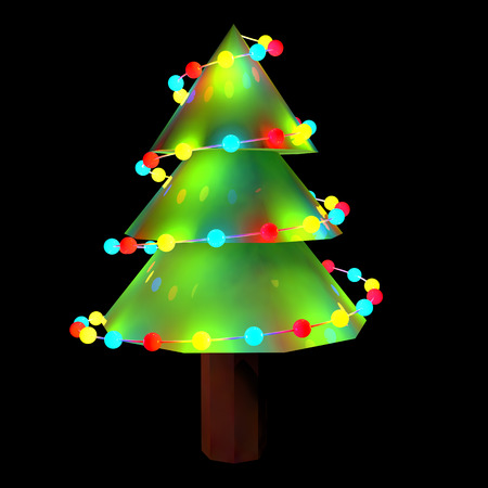 decorated: 3d decorated Christmas tree lights