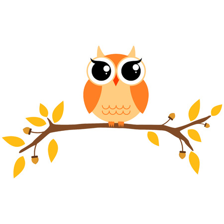 themed: Autumn themed cute owl and branch