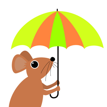 cartoon umbrella: Cute mouse holding an umbrella