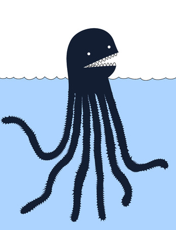 sea monster: Cute cartoon sea monster Stock Photo