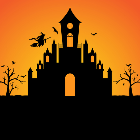 castle silhouette: Halloween witch castle silhouette background Stock Photo