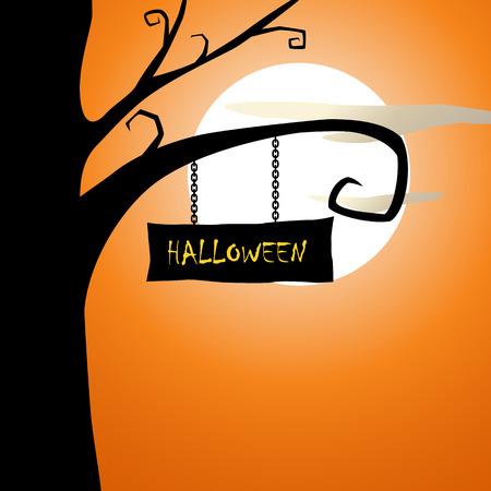 spooky tree: Halloween spooky tree and evening Stock Photo