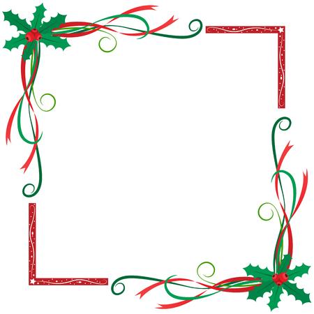 クリスマス ヒイラギの果実フレーム 写真素材