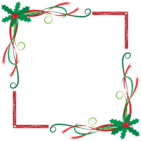 Christmas holly berries frame Banco de Imagens - 47669972