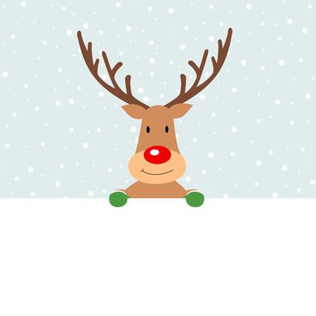 Christmas reindeer holding placard