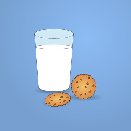 milk and cookies: Glass of milk and cookies Stock Photo
