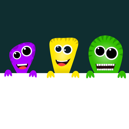 freaky: Cute cartoon monsters with banner Stock Photo