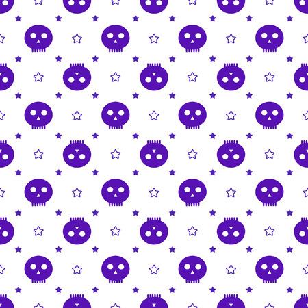 halloween pattern: Purple skulls Halloween pattern Stock Photo