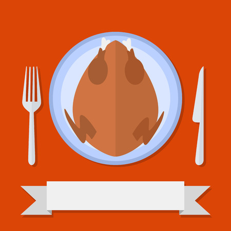 cooked: Flat style cooked turkey in plate