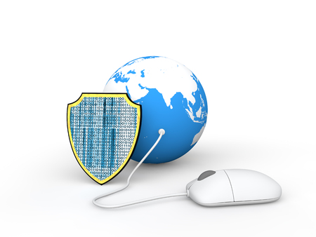 business security: 3d earth globe with computer mouse Stock Photo