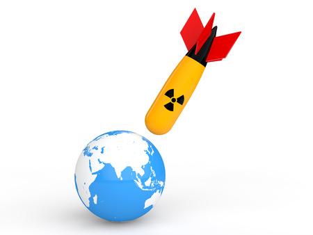 nuclear bomb: 3d nuclear bomb hitting earth globe