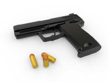criminology: 3d handgun and bullets Stock Photo