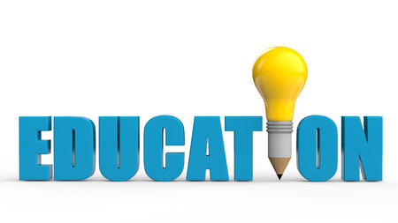 education: 3d word education with light bulb