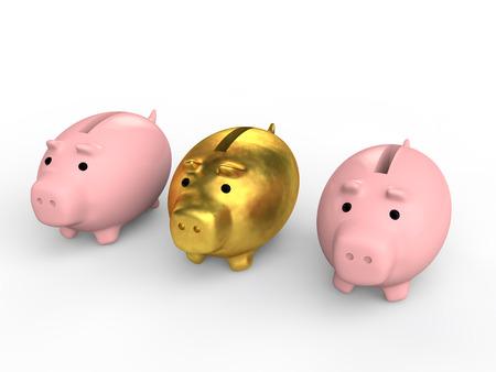 the unique: 3d unique golden piggy bank