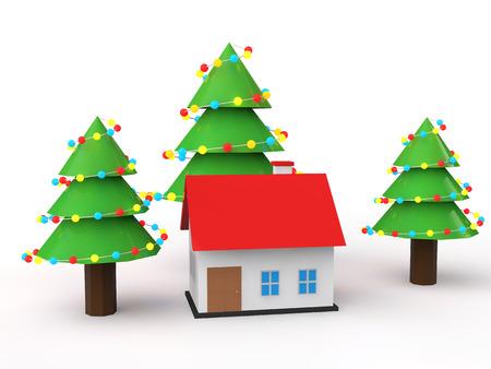 christmas house: 3d house with Christmas trees