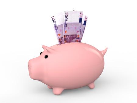 billets euro: 3d banque tirelire avec des billets en euros