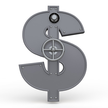 dollar sign: 3d dollar symbol metal safe Stock Photo