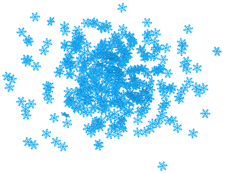 3d: 3d pile of snowflakes Stock Photo