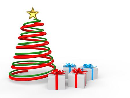 3d Kerst spiraal boom en geschenken Stockfoto