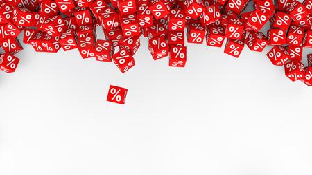 3d: 3d percent symbol red cubes
