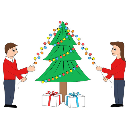 decorating christmas tree: Couple decorating Christmas tree
