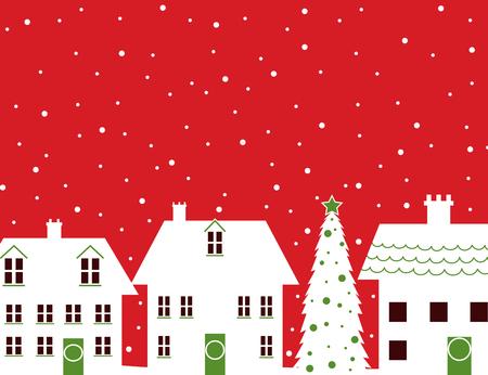 snowfalls: Christmas houses and snow design Stock Photo