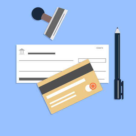 checkbook: Flat style checkbook credit card Stock Photo