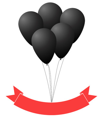 red balloons: Black balloons and red ribbon