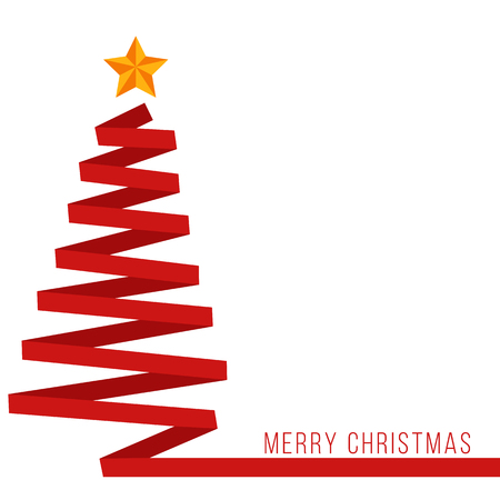 Red ribbon Christmas tree banner Фото со стока - 50035086