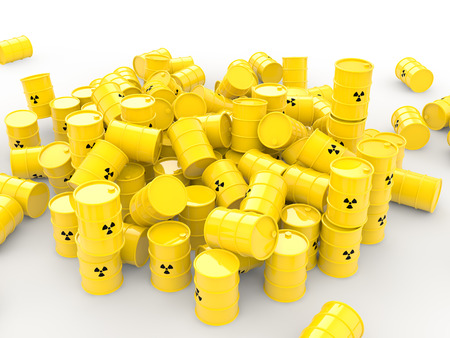 waste 3d: 3d pile of radioactive waste barrels Stock Photo