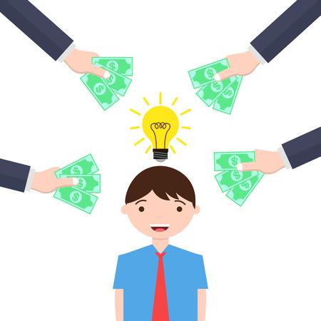 bright idea: Man with bright idea gets money Stock Photo
