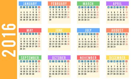 Year 2016 calendar