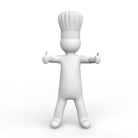 chef 3d: 3d man with chef hat with thumbs up