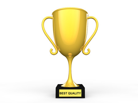 best quality: 3d best quality award trophy Stock Photo