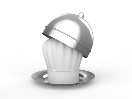 3d chef: 3d chef hat in plate Stock Photo