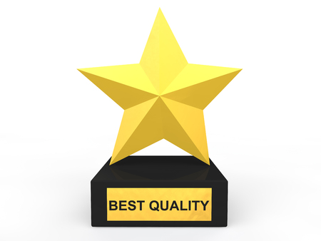 best quality: 3d gold star best quality award