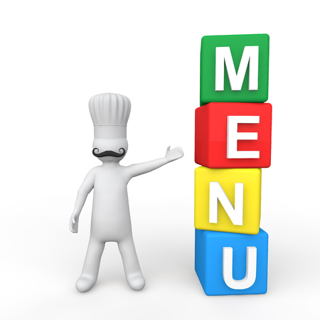 3d chef: 3d chef and menu cubes Stock Photo