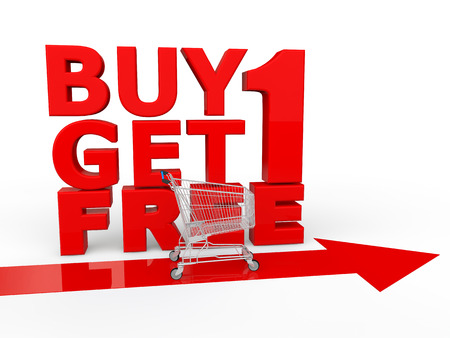 buy one: Buy one get one free shopping Stock Photo