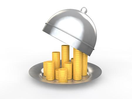 golden coins: 3d golden coins in a dish
