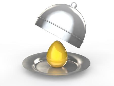 golden egg: 3d golden egg in a dish