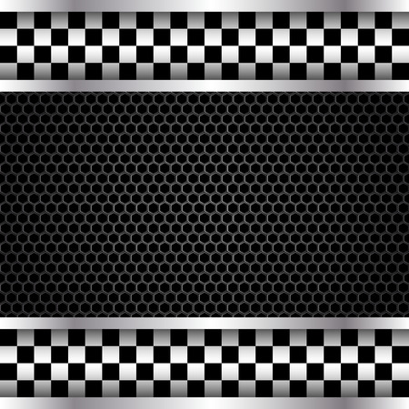 mesh: Metallic mesh checkered banner