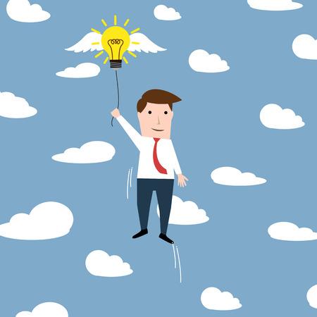 flying man: Man with a flying idea bulb