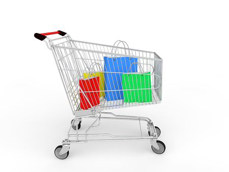 pushcart: 3d shopping cart with gifts bags Stock Photo
