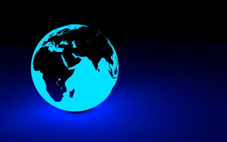 glowing earth: 3d glowing earth globe