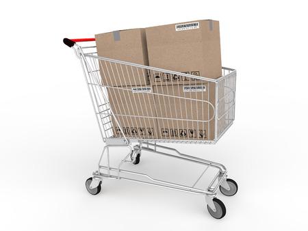 cartons: 3d cartons in shopping trolley Stock Photo